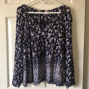 Old Navy dark blue flower print blouse size XL